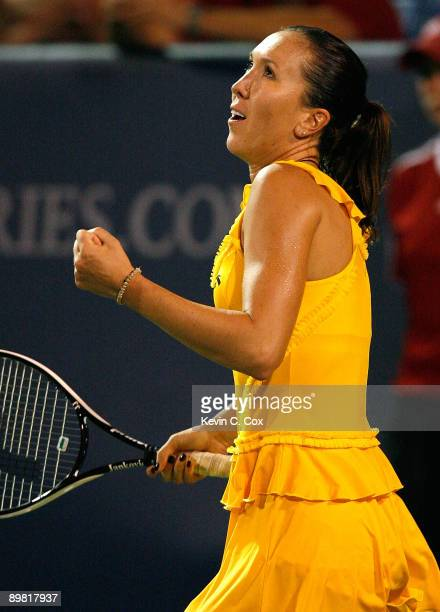 Jelena Jankovic of Serbia reacts after defeating Elena Dementieva of Russia during the semifinals of the Western Southern Financial Group Women's...