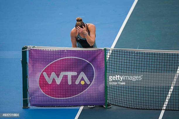 Jelena Jankovic of Serbia reacts after loosing a point against Angelique Kerber of Germany during the final macht of the WTA Prudential Hong Kong...