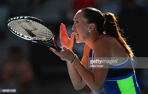 Jelena Jankovic of Serbia reacts after losing a point her match against Ekaterina Makarova of Russia during day two of the Sydney International at...