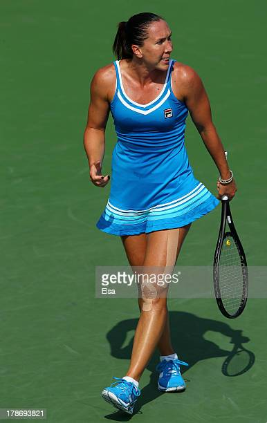 Jelena Jankovic of Serbia reacts during her women's singles third round match against Kurumi Nara of Japan on Day Five of the 2013 US Open at USTA...