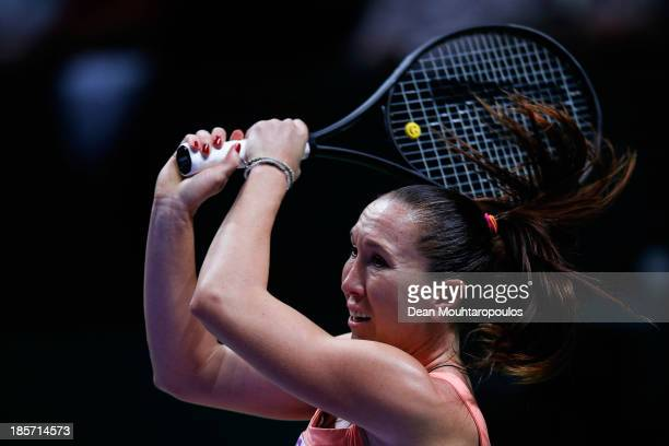 Jelena Jankovic of Serbia returns a backhand to Li Na of China during day three of the TEB BNP Paribas WTA Championships at the Sinan Erdem Dome...