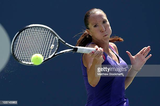 Jelena Jankovic of Serbia returns a forehand against Simona Halep of Romania during her first round women's single match on day two of the 2010 U.S....