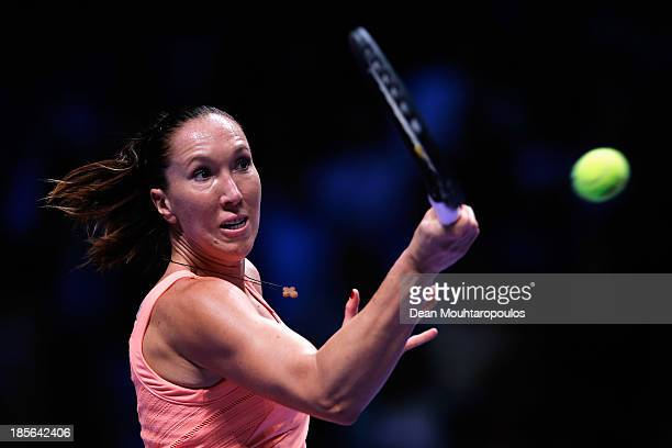 Jelena Jankovic of Serbia returns a forehand to Victoria Azarenka of Belarus during day two of the TEB BNP Paribas WTA Championships at the Sinan...