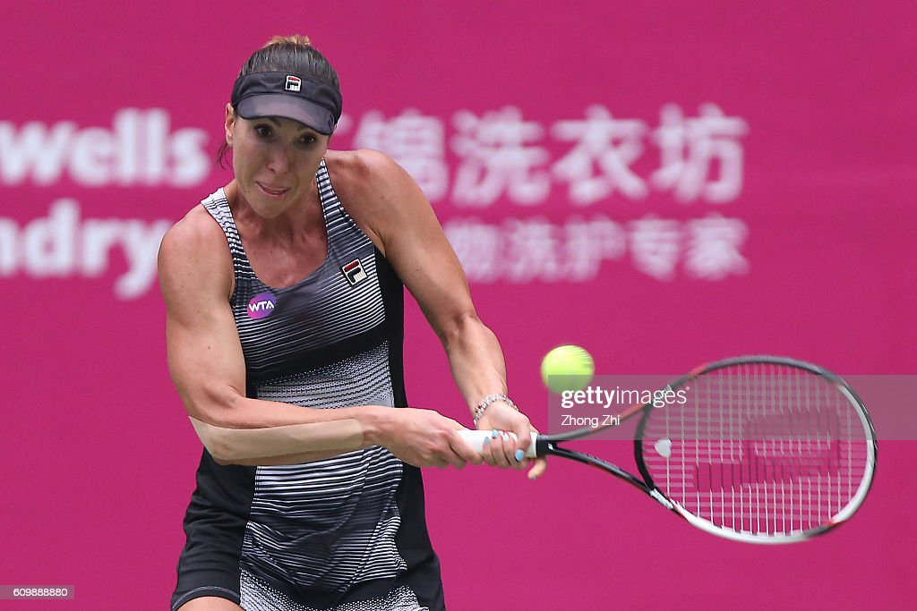 Jelena Jankovic of Serbia returns a shot against Ana Konjuh of Croatia on Day 5 of WTA Guangzhou Open on September 23, 2016 in Guangzhou, China.