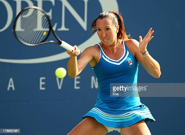 Jelena Jankovic of Serbia returns a shot during her women's singles third round match against Kurumi Nara of Japan on Day Five of the 2013 US Open at...