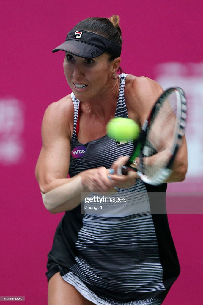 Jelena Jankovic of Serbia returns a shot during the match against Ana Konjuh of Croatia on Day 5 of WTA Guangzhou Open on September 23, 2016 in Guangzhou, China.