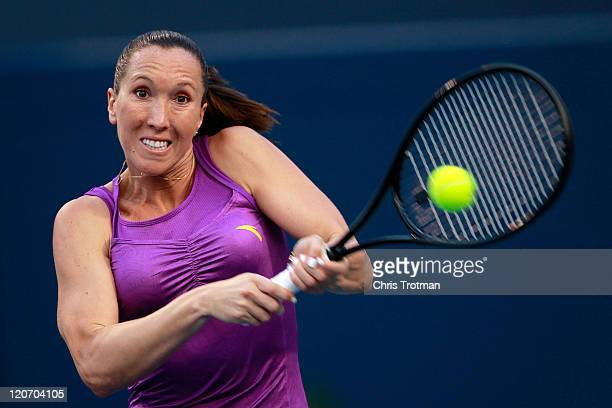 Jelena Jankovic of Serbia returns against Julia Goerges of Germany on Day 1 of the Rogers Cup presented by National Bank at the Rexall Centre on...