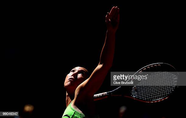 Jelena Jankovic of Serbia serves against Ana Ivanovic of Serbia in their second round match during the Mutua Madrilena Madrid Open tennis tournament...