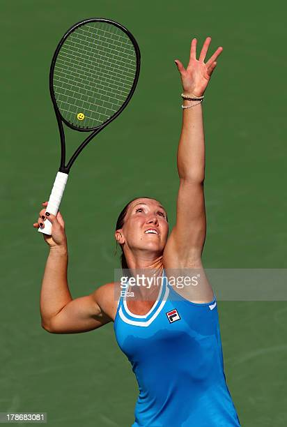 Jelena Jankovic of Serbia serves during her women's singles third round match against Kurumi Nara of Japan on Day Five of the 2013 US Open at USTA...