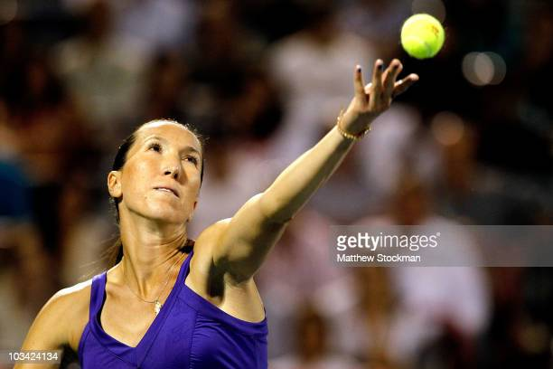 Jelena Jankovic of Serbia serves to Iveta Benesova of the Czech Republic during the Rogers Cup at Stade Uniprix on August 17, 2010 in Montreal,...