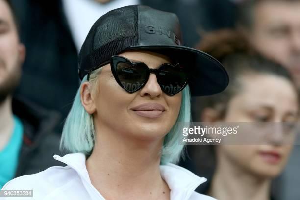Jelena Karleusa wife of Besiktas' player Dusko Tosic watches a Turkish Super Lig week 27 soccer match between Besiktas and Aytemiz Alanyaspor at...