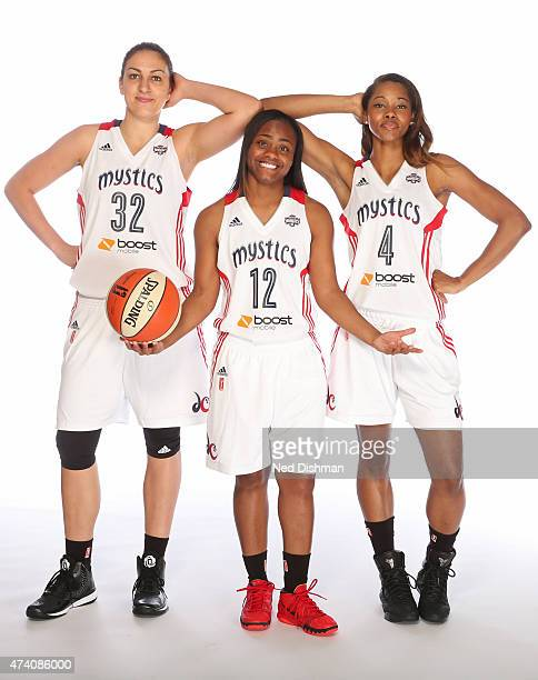 Jelena Milovanovic Ivory Latta and Tayler Hill of the Washington Mystics poses for a photo during 2015 Washington Mystics media day at the Verizon...