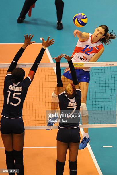 Jelena Nikolic of Serbia spikes during the match between Kenya and Serbia during the FIVB Women's Volleyball World Cup Japan 2015 at Park Arena...
