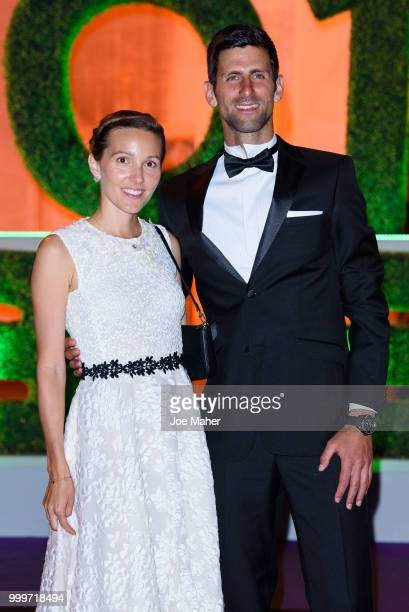 Jelena Ðokovic and Novak Djokovic attend the Wimbledon Champions Dinner at The Guildhall on July 15 2018 in London England