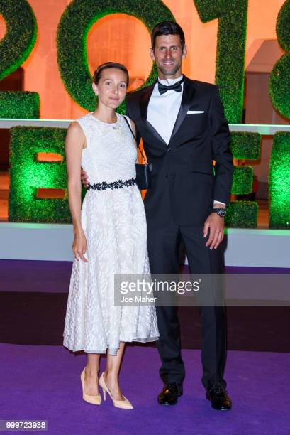 Jelena Ðokovic and Novak Djokovic attend the Wimbledon Champions Dinner at The Guildhall on July 15, 2018 in London, England.
