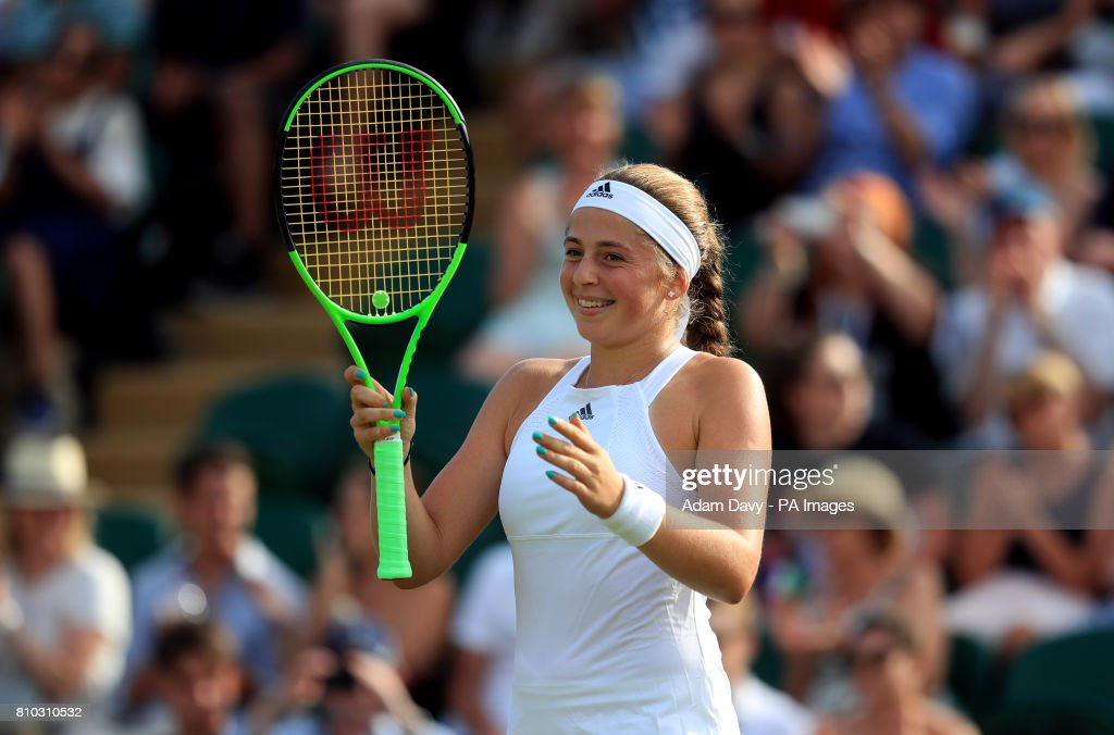 Jelena Ostapenko celebrates beating Camila Giorgi on day five of the Wimbledon Championships at The All England Lawn Tennis and Croquet Club, Wimbledon.