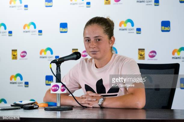 Jelena Ostapenko during a press conference after losing the Womens Final of the Miami Open Presented by Itau at Crandon Park Tennis Center on March...