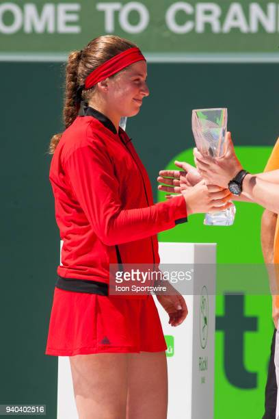 Jelena Ostapenko during the trophy ceremony of the Womens Final of the Miami Open Presented by Itau at Crandon Park Tennis Center on March 31 2018 in...