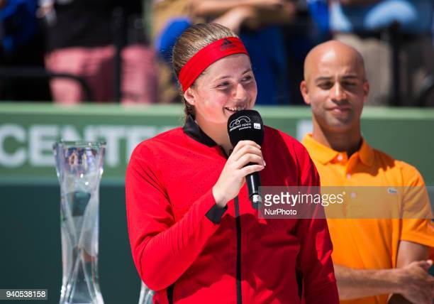 Jelena Ostapenko fom Latvia addressing the public during the trophy ceremony at the Miami Open in Key Biscayne in Key Biscayne on March 31 2018