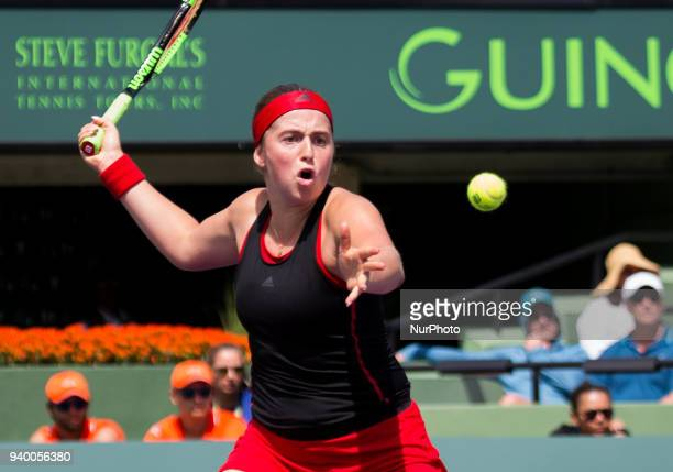 Jelena Ostapenko from Latvia in action against Elina Svetolina from Ukraine during her quater final match at the Miami Open Ostapenko defeated...