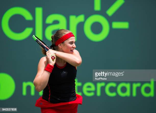 Jelena Ostapenko from Latvia in action against Sloan Stephens from the USA during the final match at the Miami Open in Key Biscayne in Key Biscayne...