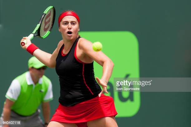 Jelena Ostapenko in action on Day 13 the Womens Final of the Miami Open Presented by Itau at Crandon Park Tennis Center on March 31 2018 in Key...