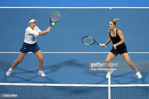 Jelena Ostapenko of Latvia and Gabriela Dabrowski of Canada compete against Hsieh Su-Wei of Taiwan and Barbora Strycova of Czech Republic in the...