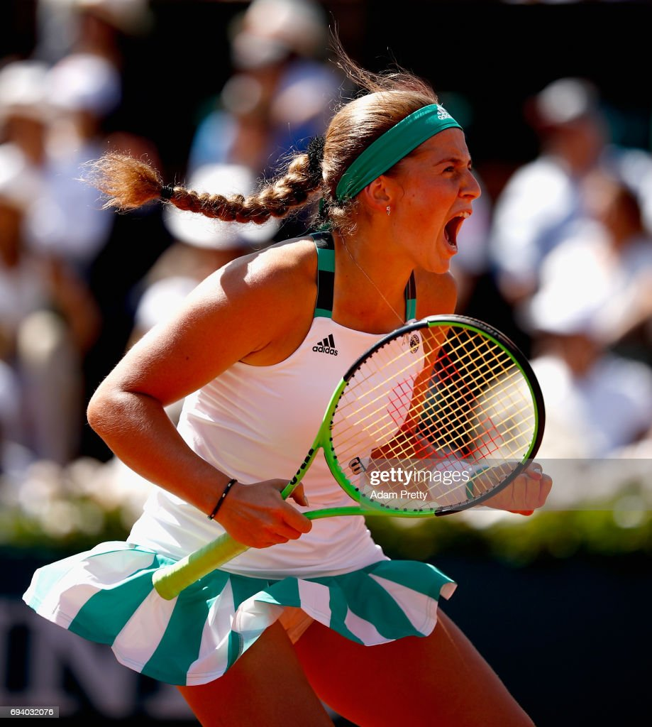 Jelena Ostapenko of Latvia celebrates a point during ladies singles semi-final match against Timea Bacsinszky of Switzerland on day twelve of the 2017 French Open at Roland Garros on June 8, 2017 in Paris, France.