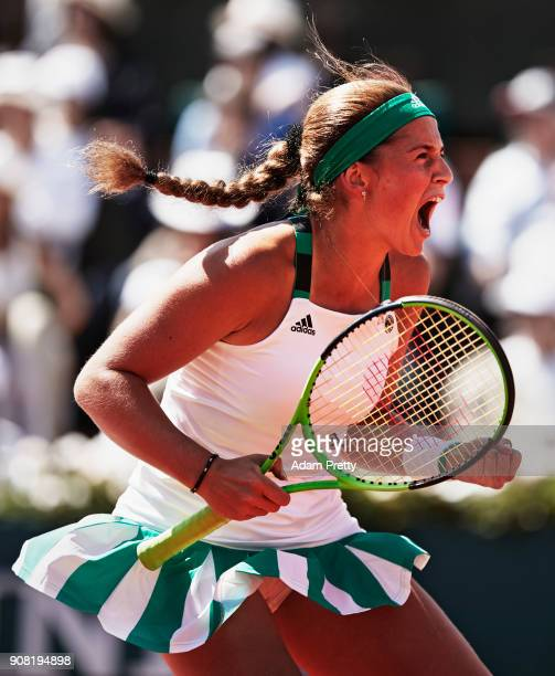 Jelena Ostapenko of Latvia celebrates a point during ladies singles semifinal match against Timea Bacsinszky of Switzerland on day twelve of the 2017...