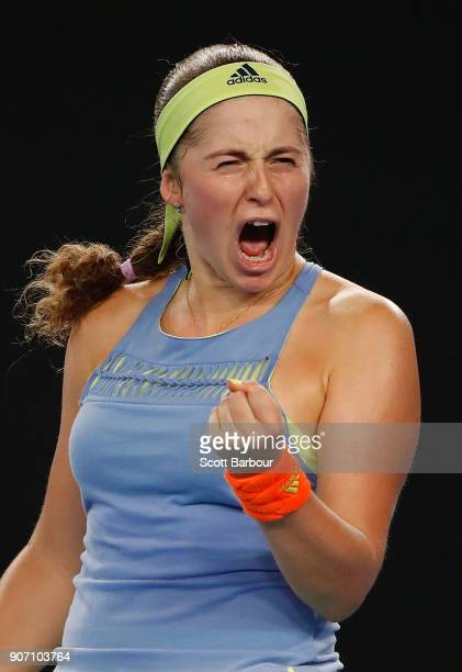 Jelena Ostapenko of Latvia celebrates a point in her third round match against Anett Kontaveit Estonia on day five of the 2018 Australian Open at...
