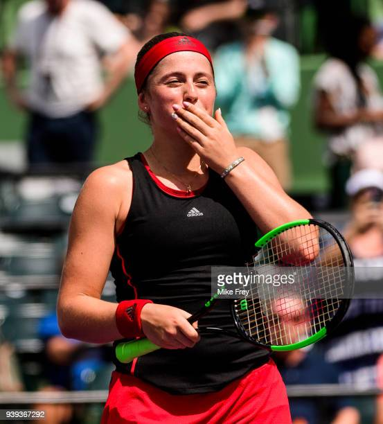 Jelena Ostapenko of Latvia celebrates after winning the match against Elina Svitolina of Ukraine 76 76 during the quarterfinals on Day 10 of the...