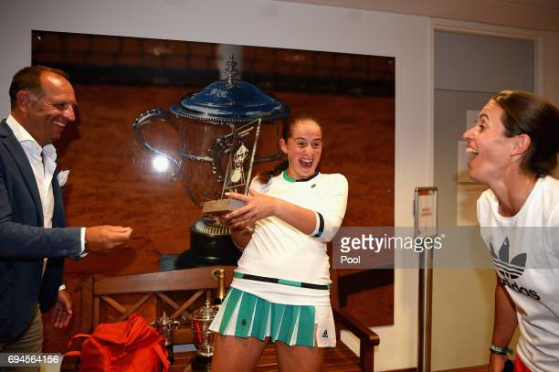 Jelena Ostapenko of Latvia celebrates following victory in the ladies singles final on day fourteen of the 2017 French Open at Roland Garros on June...