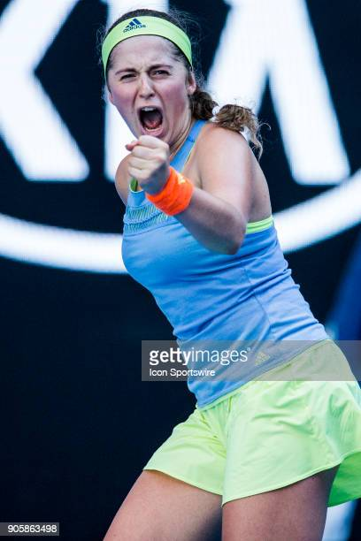 Jelena Ostapenko of Latvia celebrates in her Second Round match during the 2018 Australian Open on January 17 at Melbourne Park Tennis Centre in...