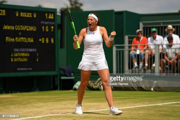 Jelena Ostapenko of Latvia celebrates match point and victory during the Ladies Singles fourth round match against Elina Svitolina of Ukraine on day...