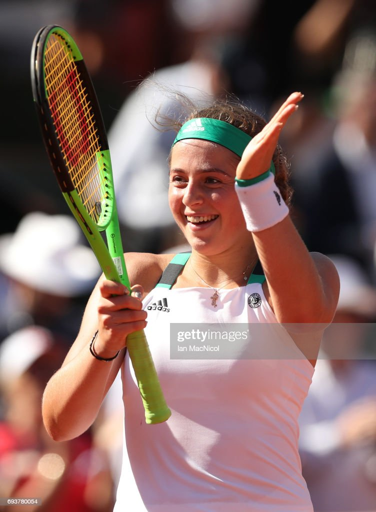 Jelena Ostapenko of Latvia celebrates victory during her match with Timea Bacsinszky of Switzerland, during day twelve at Roland Garros on June 8, 2017 in Paris, France.