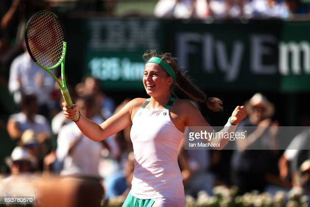 Jelena Ostapenko of Latvia celebrates victory during her match with Timea Bacsinszky of Switzerland during day twelve at Roland Garros on June 8 2017...
