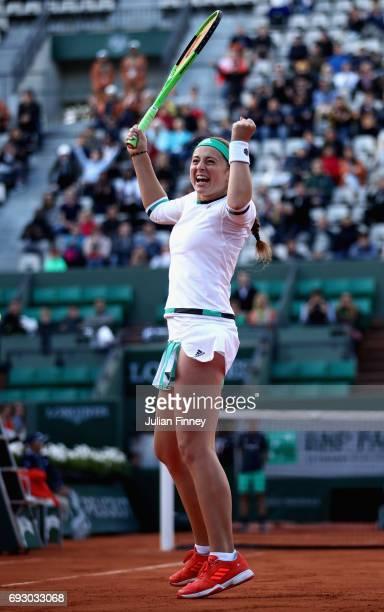 Jelena Ostapenko of Latvia celebrates victory during ladies singles Quarter Finals match against Caroline Wozniacki of Denmark on day ten of the 2017...