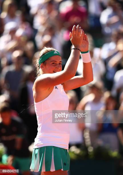 Jelena Ostapenko of Latvia celebrates victory during the ladies singles final against Simona Halep of Romania on day fourteen of the 2017 French Open...