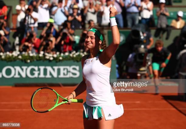 Jelena Ostapenko of Latvia celebrates victory during the ladies semi final match against Timea Bacsinszky of Switzerlandon day twelve of the 2017...