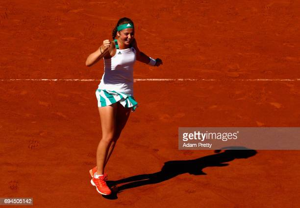 Jelena Ostapenko of Latvia celebrates victory in the ladies singles final match against Simona Halep of Romania on day fourteen of the 2017 French...