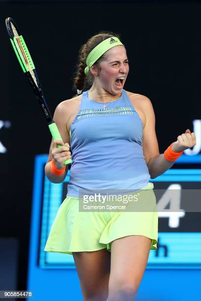 Jelena Ostapenko of Latvia celebrates winning her match against YingYing Duan of China on day three of the 2018 Australian Open at Melbourne Park on...