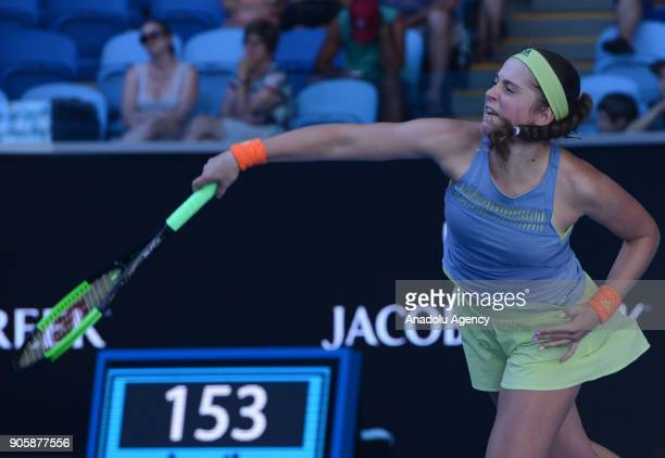 Jelena Ostapenko of Latvia competes with YingYing Duan of China on day three of the 2018 Australian Open at Melbourne Park on January 17 2018 in...