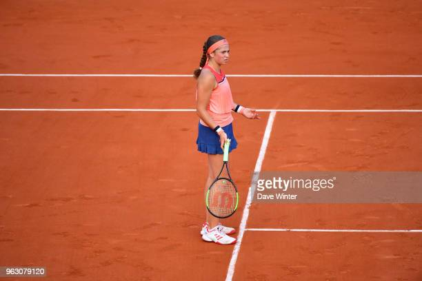 Jelena Ostapenko of Latvia during Day 1 of the the French Open at Roland Garros on May 27 2018 in Paris France