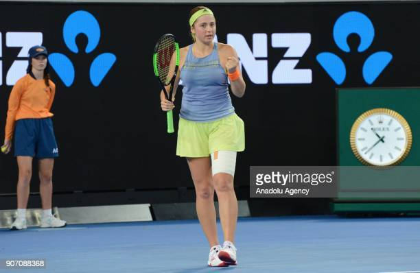 Jelena Ostapenko of Latvia gestures after scoring a point against Anett Kontaveit of Estonia during 2018 Australia Open Women's Singles tennis match...