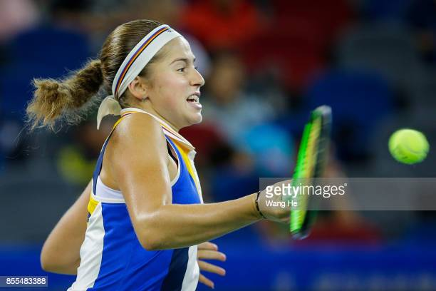 Jelena Ostapenko of Latvia hits a forehand during the Ladies Singles semi final match against Ashleigh Barty of Australia at the 2017 Wuhan Open on...