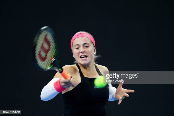 Jelena Ostapenko of Latvia hits a return against Magdalena Rybarikova of Czech Republic during their Women's Qualie Singles 1nd Round match of the...