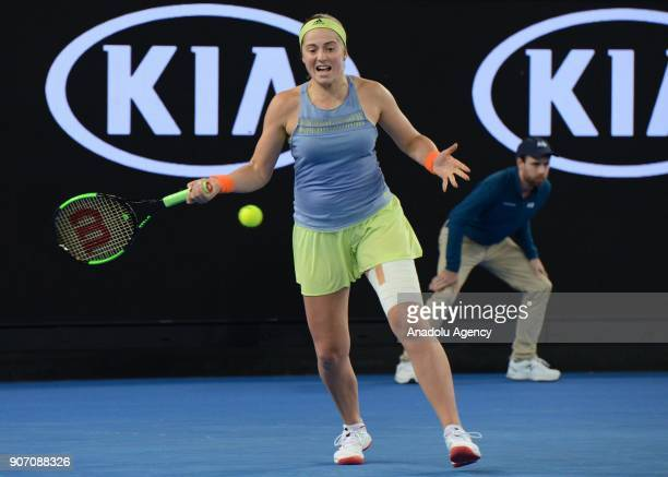 Jelena Ostapenko of Latvia in action against Anett Kontaveit of Estonia during 2018 Australia Open Women's Singles tennis match in Melbourne...
