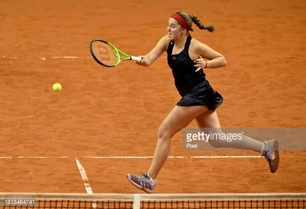 Jelena Ostapenko of Latvia in action during the Womens Doubles match against Angelique Kerber of Germany and Andrea Petkovic of Germany during day 4...