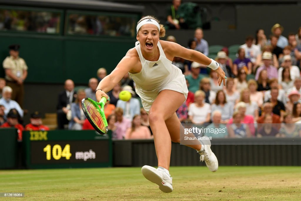 Jelena Ostapenko of Latvia plays a forehand during the Ladies Singles quarter final match against Venus Williams of The United States on day eight of the Wimbledon Lawn Tennis Championships at the All England Lawn Tennis and Croquet Club on July 11, 2017 in London, England.