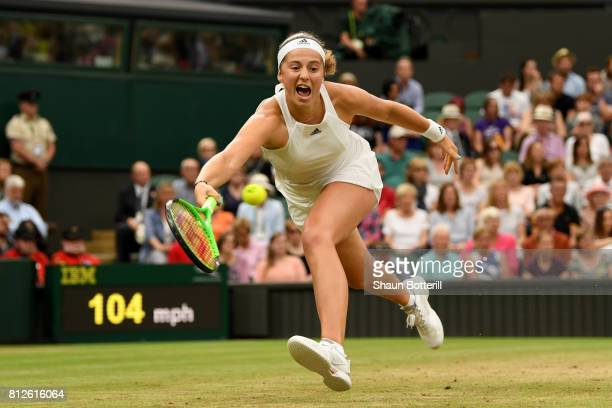 Jelena Ostapenko of Latvia plays a forehand during the Ladies Singles quarter final match against Venus Williams of The United States on day eight of...